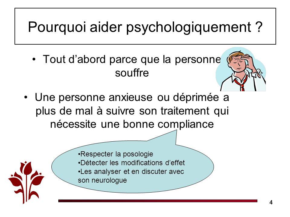 4 Pourquoi aider psychologiquement ? Tout dabord parce que la personne souffre Une personne anxieuse ou déprimée a plus de mal à suivre son traitement