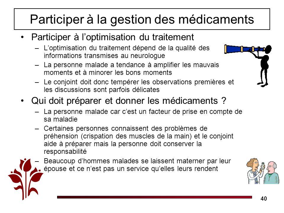 40 Participer à la gestion des médicaments Participer à loptimisation du traitement –Loptimisation du traitement dépend de la qualité des informations