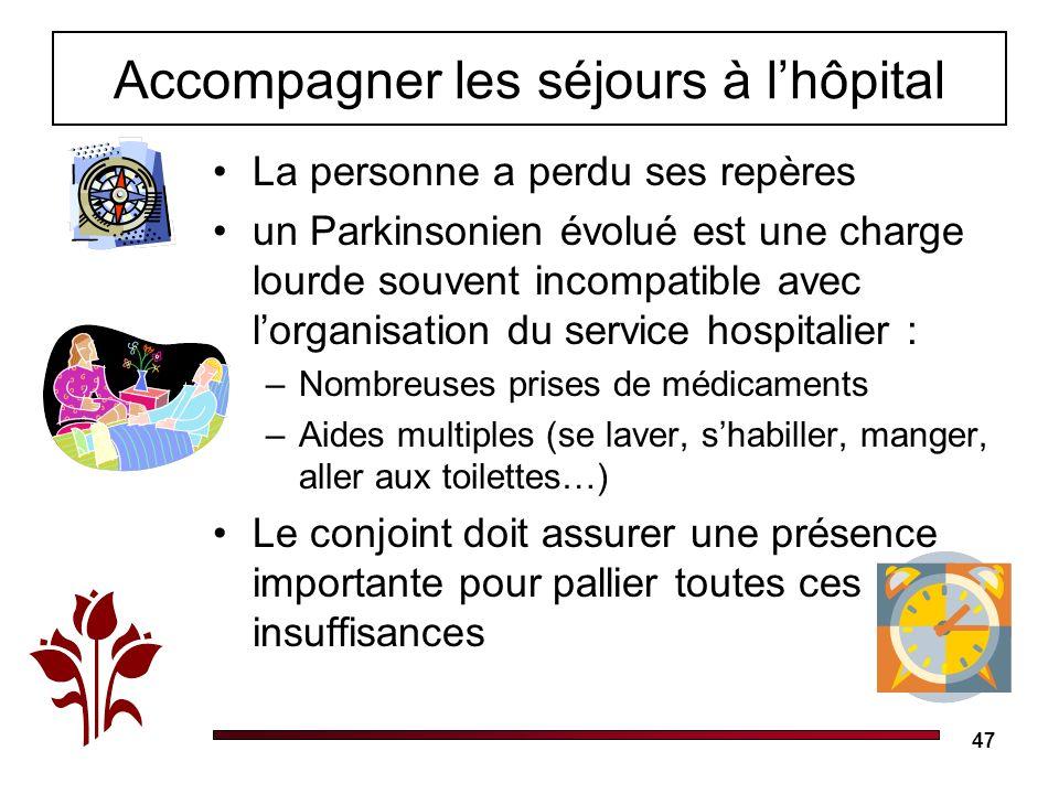 47 Accompagner les séjours à lhôpital La personne a perdu ses repères un Parkinsonien évolué est une charge lourde souvent incompatible avec lorganisa