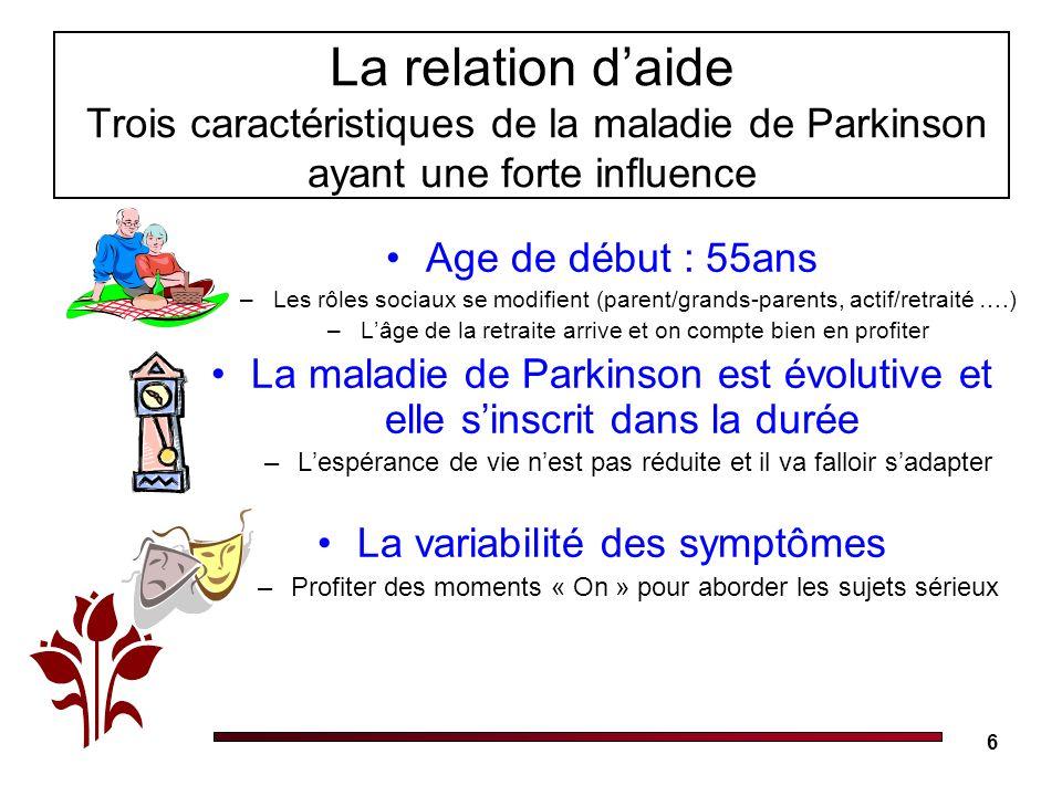 6 La relation daide Trois caractéristiques de la maladie de Parkinson ayant une forte influence Age de début : 55ans –Les rôles sociaux se modifient (parent/grands-parents, actif/retraité ….) –Lâge de la retraite arrive et on compte bien en profiter La maladie de Parkinson est évolutive et elle sinscrit dans la durée –Lespérance de vie nest pas réduite et il va falloir sadapter La variabilité des symptômes –Profiter des moments « On » pour aborder les sujets sérieux