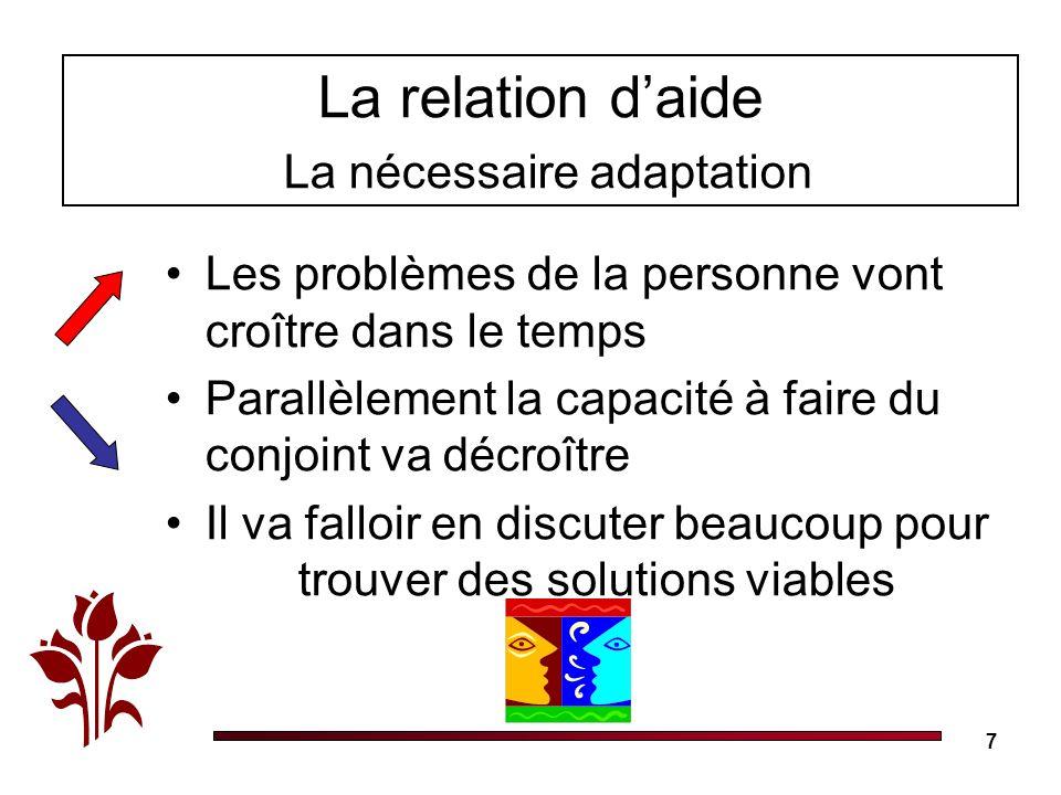 7 La relation daide La nécessaire adaptation Les problèmes de la personne vont croître dans le temps Parallèlement la capacité à faire du conjoint va décroître Il va falloir en discuter beaucoup pour trouver des solutions viables