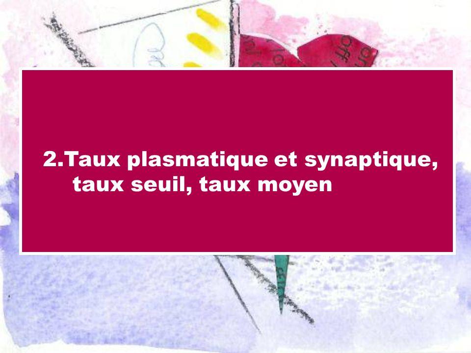 2.Taux plasmatique et synaptique, taux seuil, taux moyen