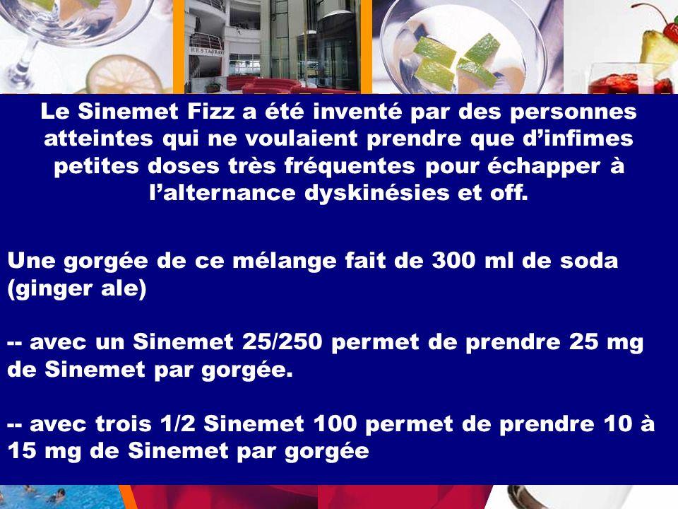 Le Sinemet Fizz a été inventé par des personnes atteintes qui ne voulaient prendre que dinfimes petites doses très fréquentes pour échapper à lalterna