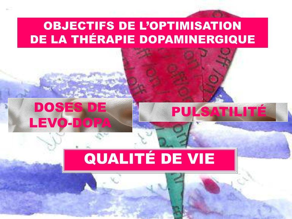 DOSES DE LEVO-DOPA OBJECTIFS DE LOPTIMISATION DE LA THÉRAPIE DOPAMINERGIQUE PULSATILITÉ QUALITÉ DE VIE