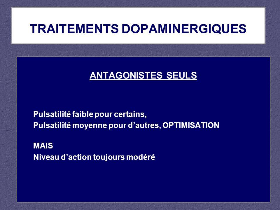 ANTAGONISTES SEULS Pulsatilité faible pour certains, Pulsatilité moyenne pour dautres, OPTIMISATION MAIS Niveau daction toujours modéré TRAITEMENTS DO