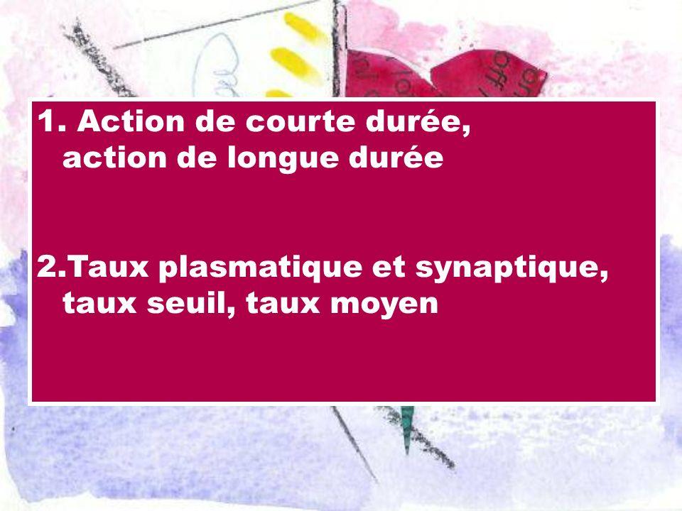 1. Action de courte durée, action de longue durée 2.Taux plasmatique et synaptique, taux seuil, taux moyen