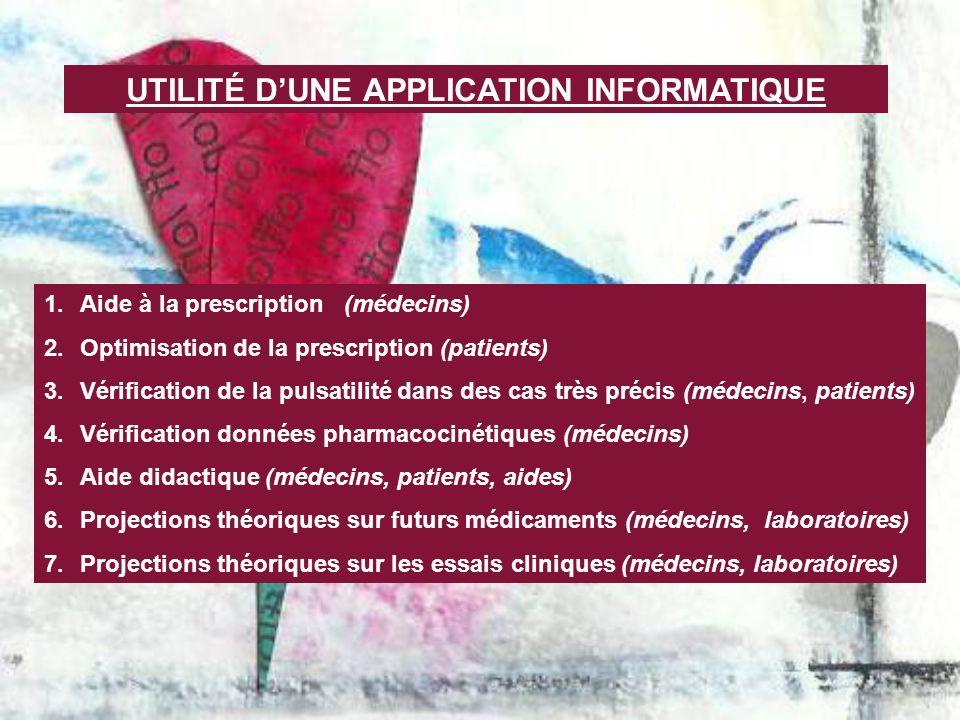 UTILITÉ DUNE APPLICATION INFORMATIQUE 1.Aide à la prescription (médecins) 2.Optimisation de la prescription (patients) 3.Vérification de la pulsatilit