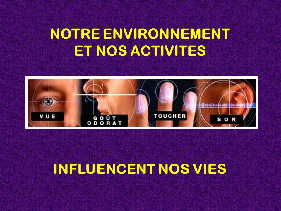 NOTRE ENVIRONNEMENT ET NOS ACTIVITES INFLUENCENT NOS VIES