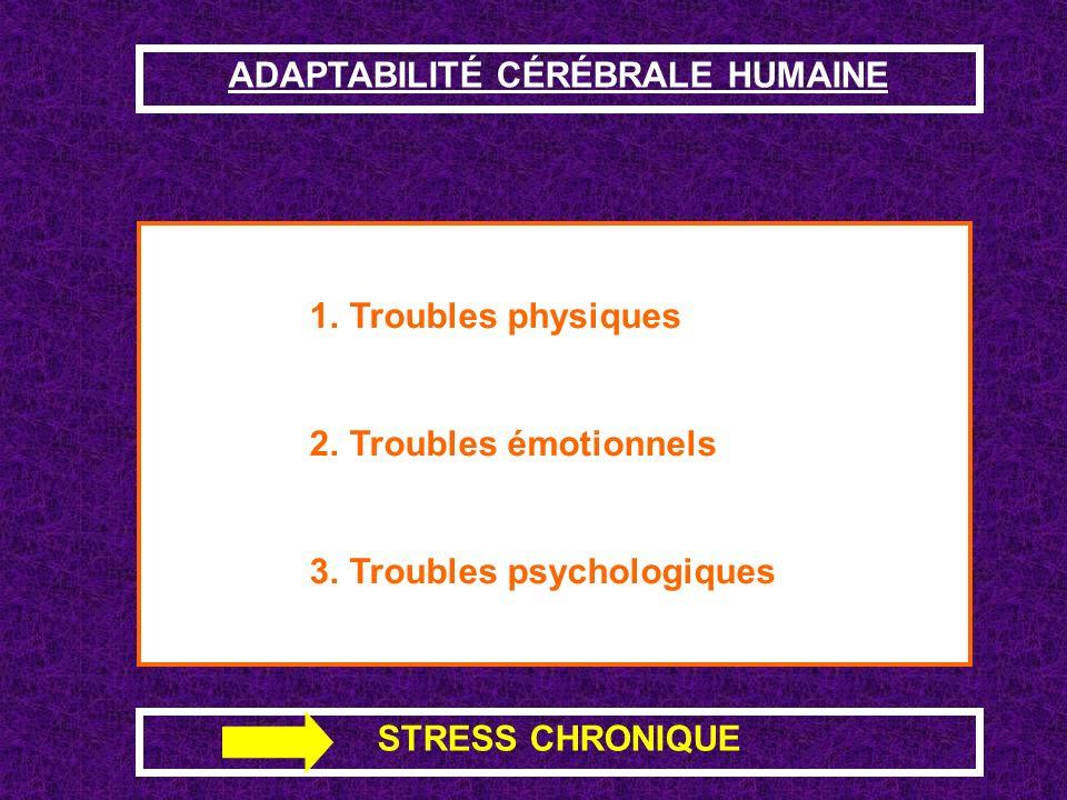 ADAPTABILITÉ CÉRÉBRALE HUMAINE La solution adéquate au problème semble difficile ou impossible à trouver parce que les facteurs de stress sont en excè