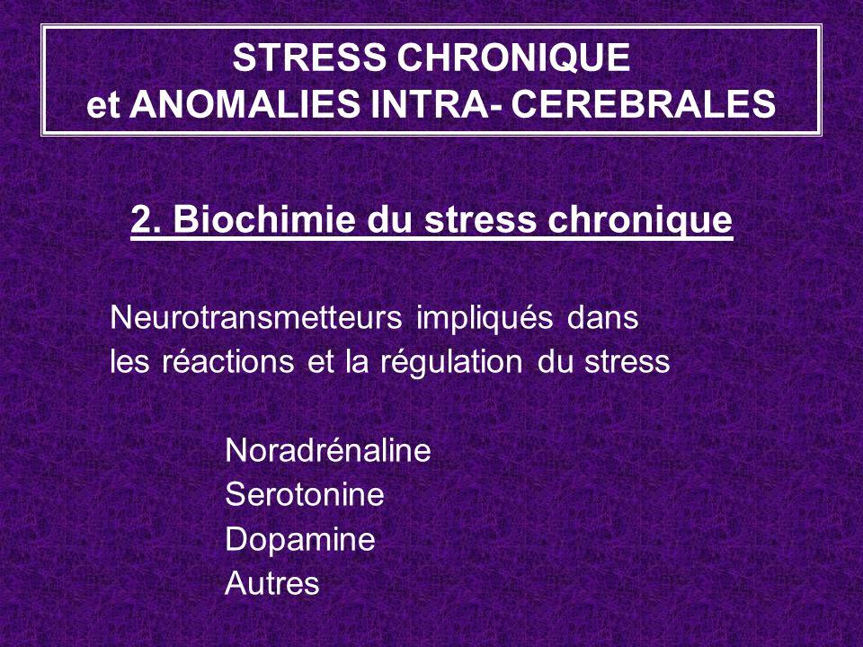 2. Biochimie du stress chronique Neurotransmetteurs impliqués dans les réactions et la régulation du stress Noradrénaline Serotonine Dopamine Autres S