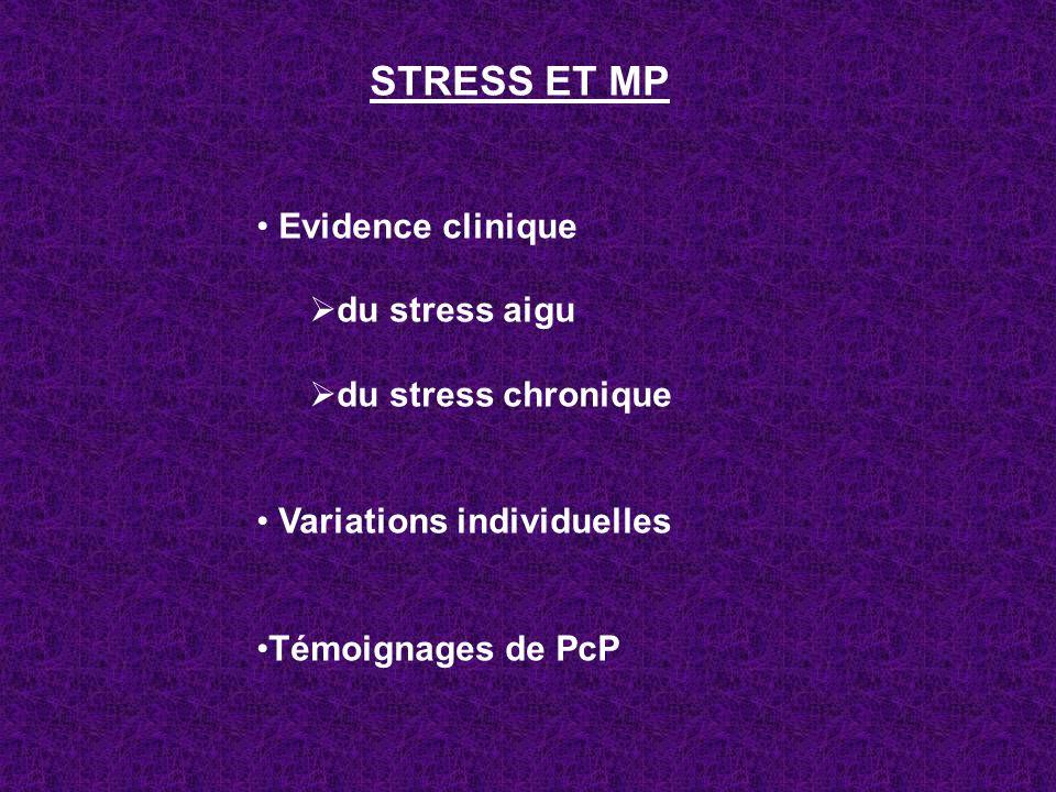 STRESS ET MP Evidence clinique du stress aigu du stress chronique Variations individuelles Témoignages de PcP