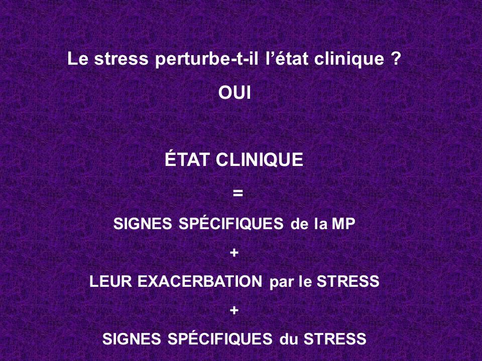 Le stress perturbe-t-il létat clinique ? OUI ÉTAT CLINIQUE = SIGNES SPÉCIFIQUES de la MP + LEUR EXACERBATION par le STRESS + SIGNES SPÉCIFIQUES du STR