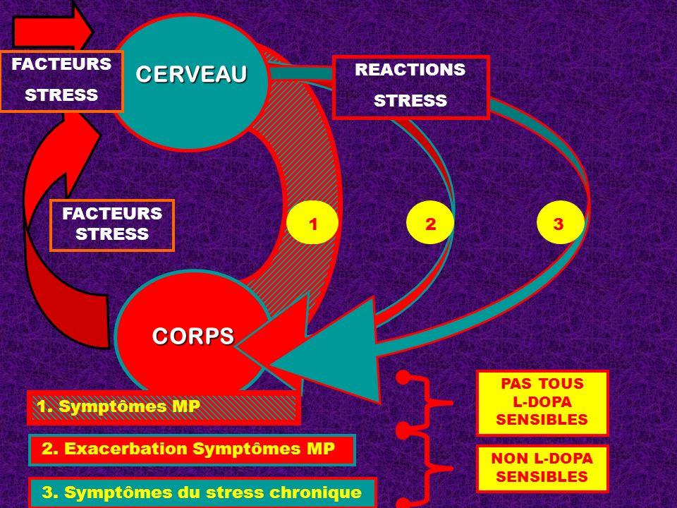 CORPS CERVEAU 23 3. Symptômes du stress chronique 2. Exacerbation Symptômes MP 1. Symptômes MP NON L-DOPA SENSIBLES 11 1 REACTIONS STRESS FACTEURS STR