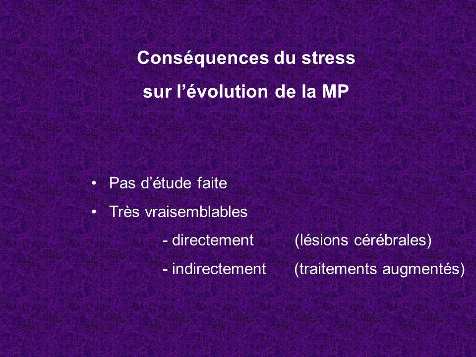 Conséquences du stress sur lévolution de la MP Pas détude faite Très vraisemblables - directement (lésions cérébrales) - indirectement (traitements au