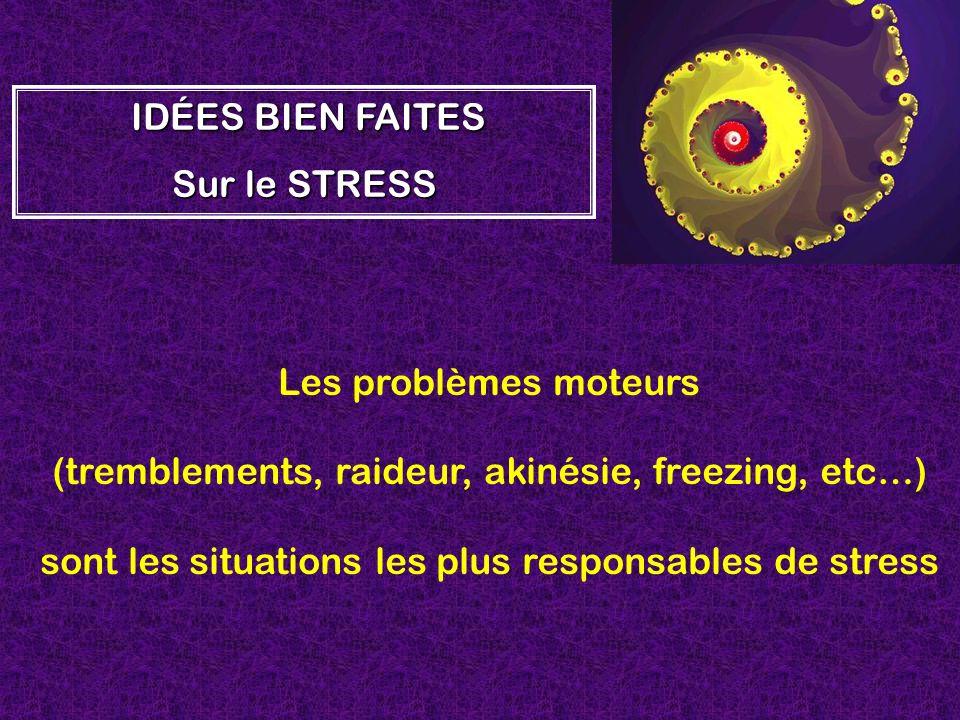 Les problèmes moteurs (tremblements, raideur, akinésie, freezing, etc…) sont les situations les plus responsables de stress I II IDÉES BIEN FAITES Sur