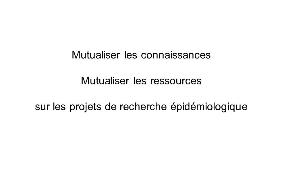 Mutualiser les connaissances Mutualiser les ressources sur les projets de recherche épidémiologique