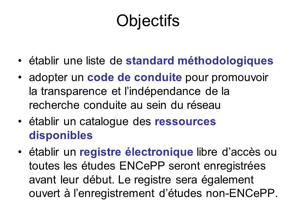Objectifs établir une liste de standard méthodologiques adopter un code de conduite pour promouvoir la transparence et lindépendance de la recherche c