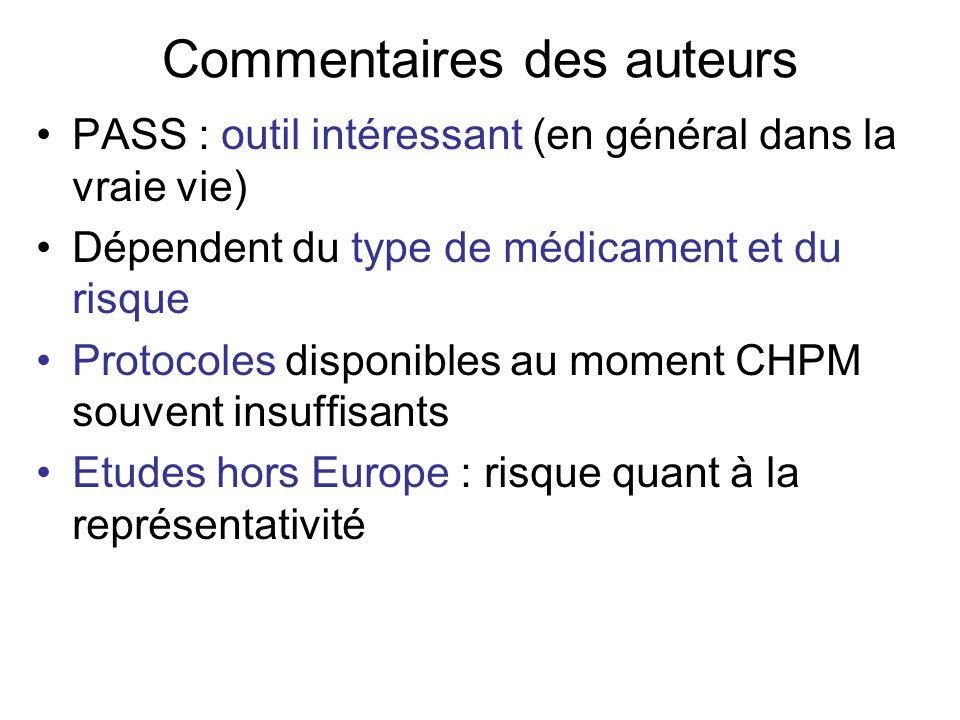 Commentaires des auteurs PASS : outil intéressant (en général dans la vraie vie) Dépendent du type de médicament et du risque Protocoles disponibles a