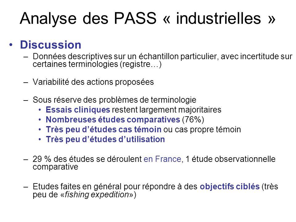 Analyse des PASS « industrielles » Discussion –Données descriptives sur un échantillon particulier, avec incertitude sur certaines terminologies (regi