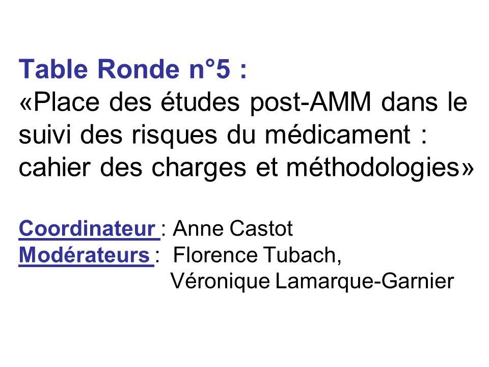 Table Ronde n°5 : «Place des études post-AMM dans le suivi des risques du médicament : cahier des charges et méthodologies» Coordinateur : Anne Castot
