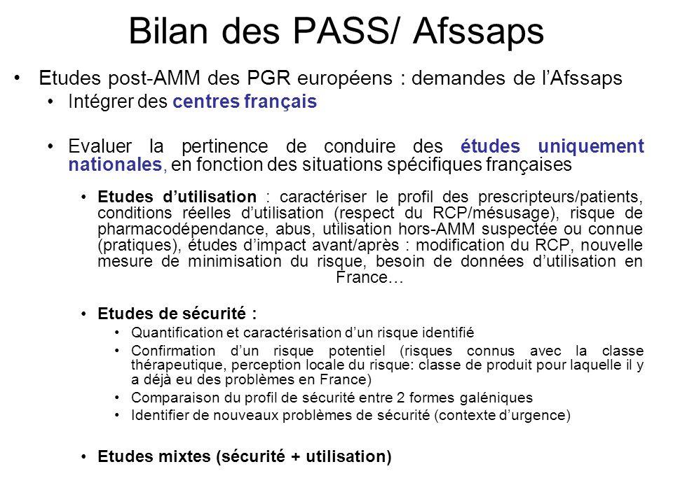 Bilan des PASS/ Afssaps Etudes post-AMM des PGR européens : demandes de lAfssaps Intégrer des centres français Evaluer la pertinence de conduire des é