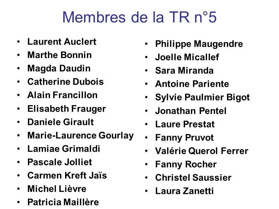 Membres de la TR n°5 Laurent Auclert Marthe Bonnin Magda Daudin Catherine Dubois Alain Francillon Elisabeth Frauger Daniele Girault Marie-Laurence Gou