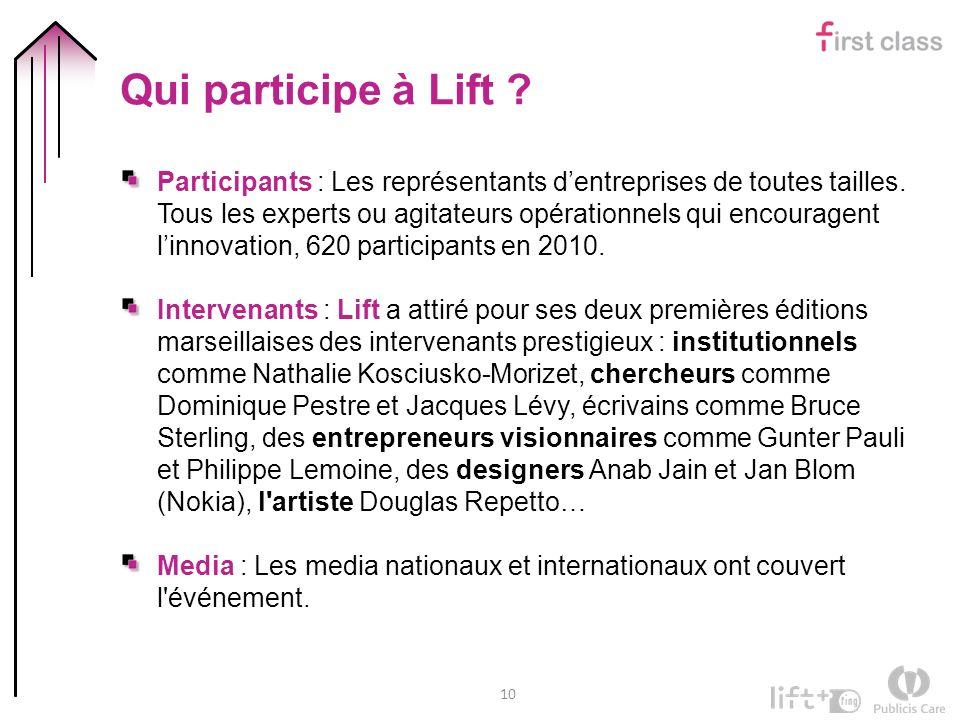 10 Qui participe à Lift ? Participants : Les représentants dentreprises de toutes tailles. Tous les experts ou agitateurs opérationnels qui encouragen