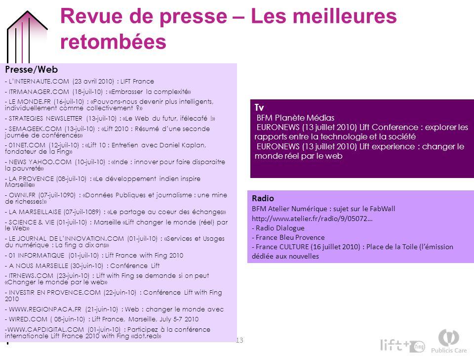 13 Revue de presse – Les meilleures retombées Presse/Web - LINTERNAUTE.COM (23 avril 2010) : LIFT France - ITRMANAGER.COM (18-juil-10) : «Embrasser la
