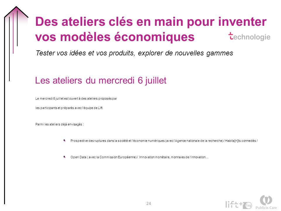 24 Des ateliers clés en main pour inventer vos modèles économiques Tester vos idées et vos produits, explorer de nouvelles gammes Les ateliers du merc