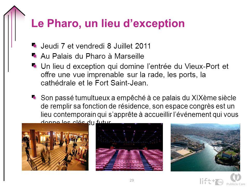 29 Le Pharo, un lieu dexception Jeudi 7 et vendredi 8 Juillet 2011 Au Palais du Pharo à Marseille Un lieu d exception qui domine lentrée du Vieux-Port et offre une vue imprenable sur la rade, les ports, la cathédrale et le Fort Saint-Jean.
