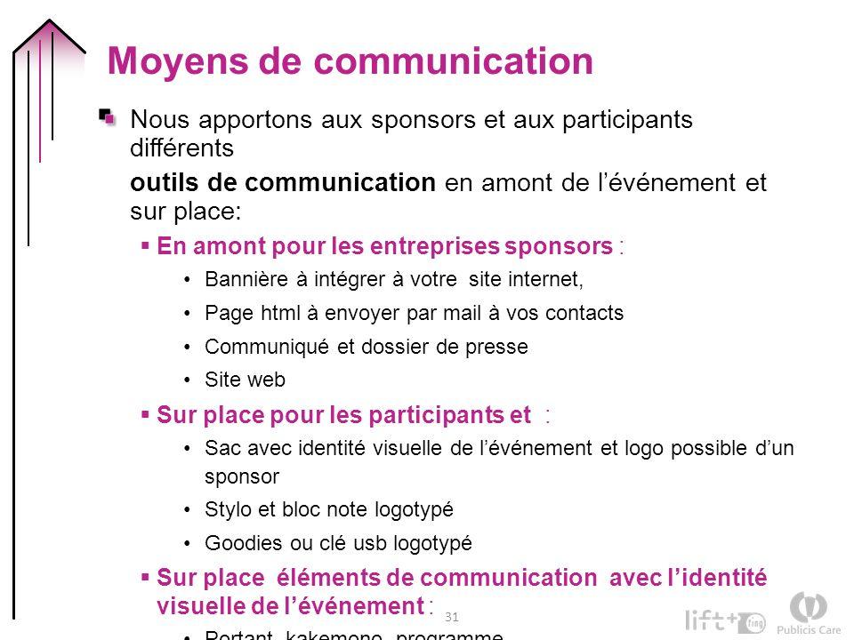 31 Moyens de communication Nous apportons aux sponsors et aux participants différents outils de communication en amont de lévénement et sur place: En