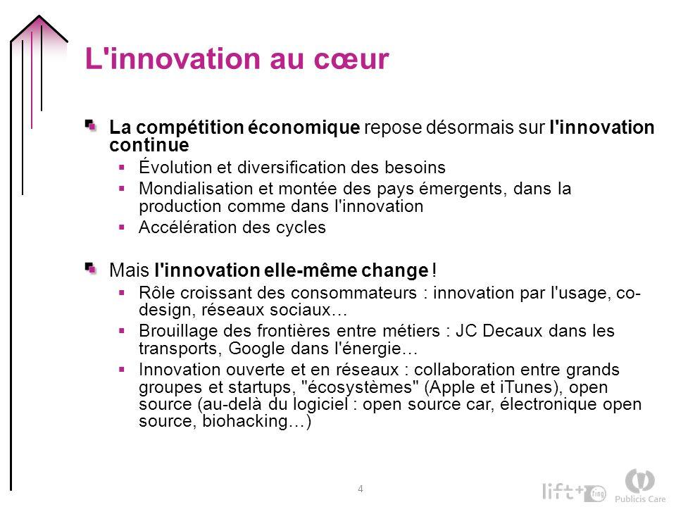 4 L'innovation au cœur La compétition économique repose désormais sur l'innovation continue Évolution et diversification des besoins Mondialisation et