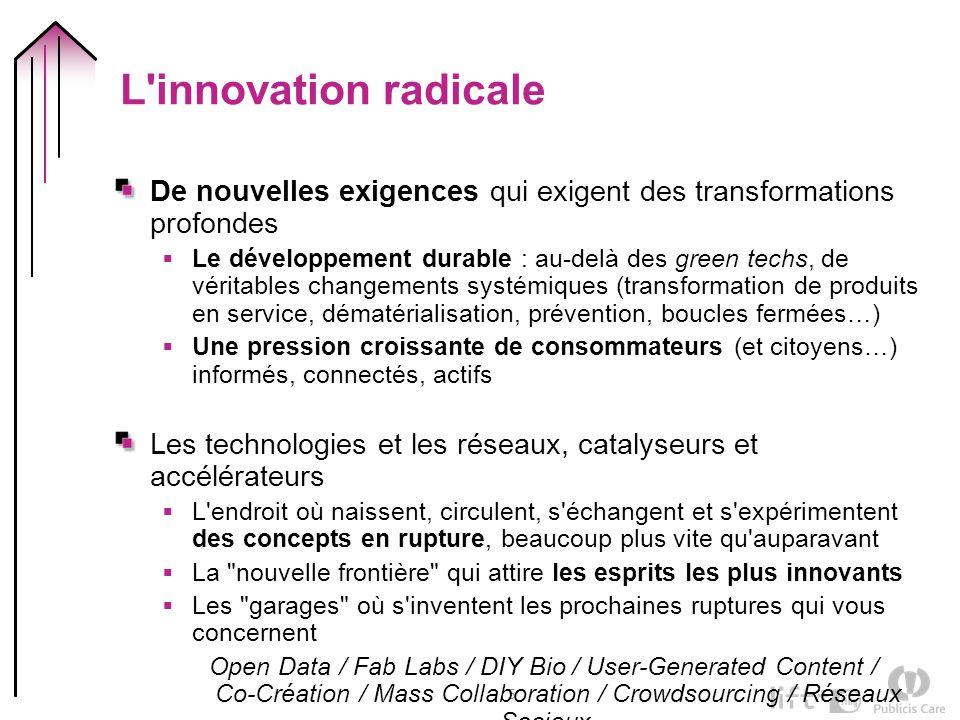 5 L'innovation radicale De nouvelles exigences qui exigent des transformations profondes Le développement durable : au-delà des green techs, de vérita