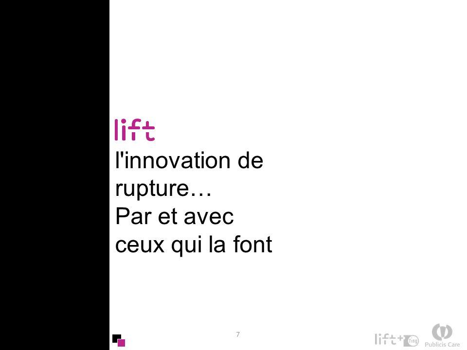 8 Lift, le rendez-vous prospectif et opérationnel de la nouvelle innovation Lift est une conférence internationale d un nouveau genre qui explore le potentiel transformateur des technologies sur les métiers, les entreprises, les sociétés, les marchés Un événement à la fois prospectif (2 à 5 ans) et opérationnel : ceux qui pensent sont aussi ceux qui font .