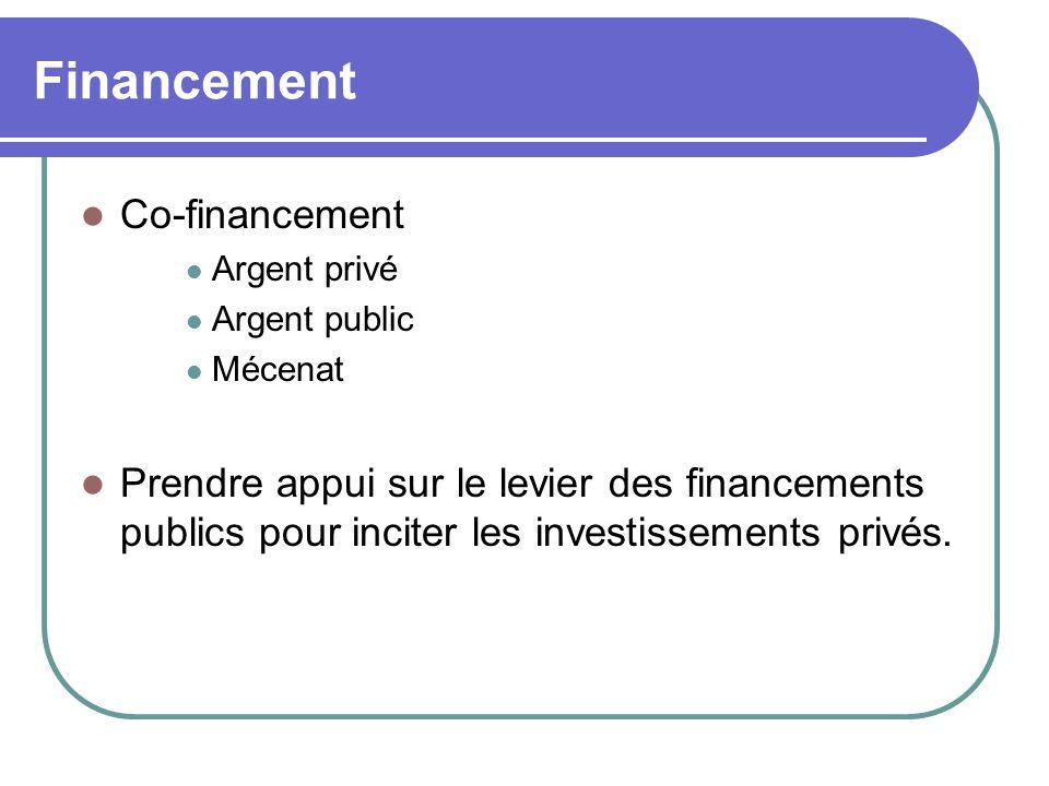 Financement Co-financement Argent privé Argent public Mécenat Prendre appui sur le levier des financements publics pour inciter les investissements privés.