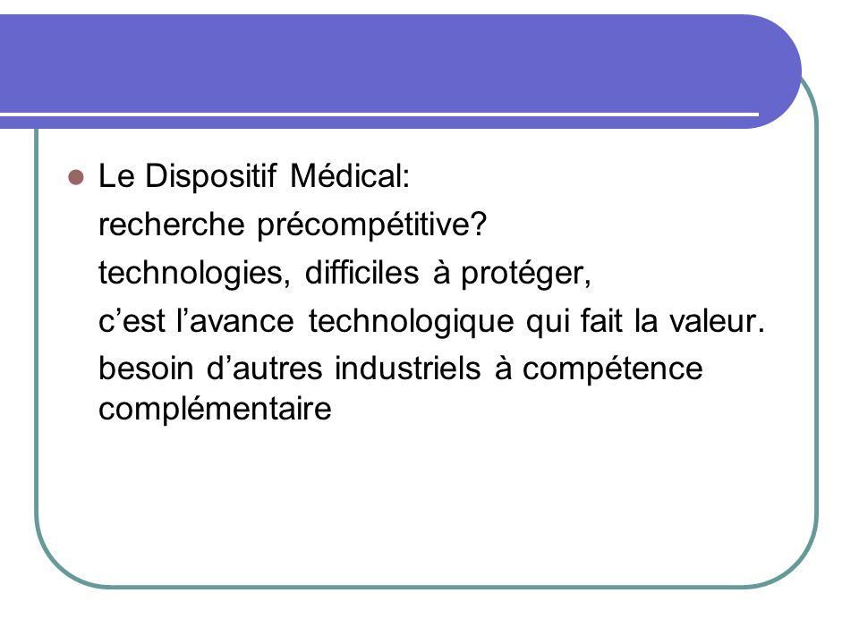 Le Dispositif Médical: recherche précompétitive? technologies, difficiles à protéger, cest lavance technologique qui fait la valeur. besoin dautres in