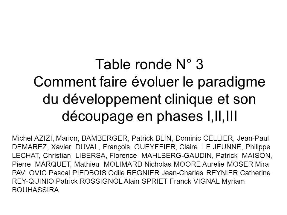Table ronde N° 3 Comment faire évoluer le paradigme du développement clinique et son découpage en phases I,II,III Michel AZIZI, Marion, BAMBERGER, Pat