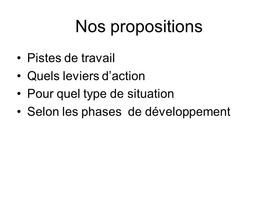Nos propositions Pistes de travail Quels leviers daction Pour quel type de situation Selon les phases de développement