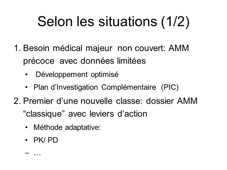Selon les situations (1/2) 1.Besoin médical majeur non couvert: AMM précoce avec données limitées Développement optimisé Plan dInvestigation Complémen