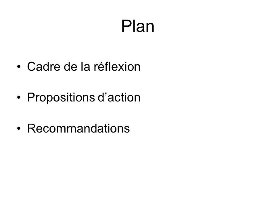 Plan Cadre de la réflexion Propositions daction Recommandations