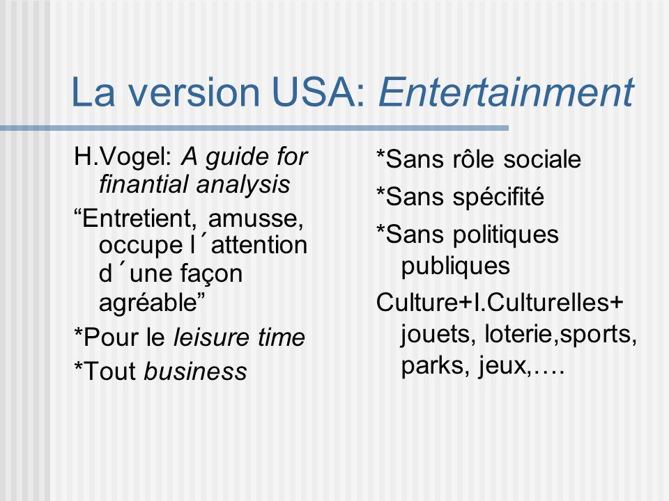 La version USA: Entertainment H.Vogel: A guide for finantial analysis Entretient, amusse, occupe l´attention d´une façon agréable *Pour le leisure tim