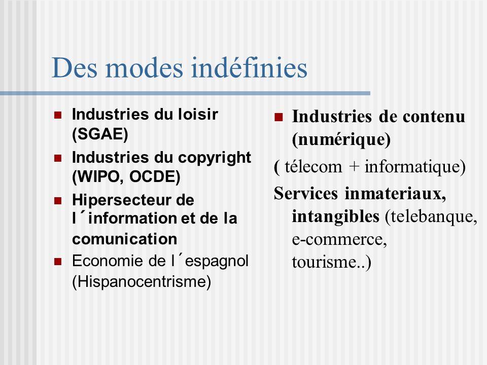 Des modes indéfinies Industries du loisir (SGAE) Industries du copyright (WIPO, OCDE) Hipersecteur de l´information et de la comunication Economie de