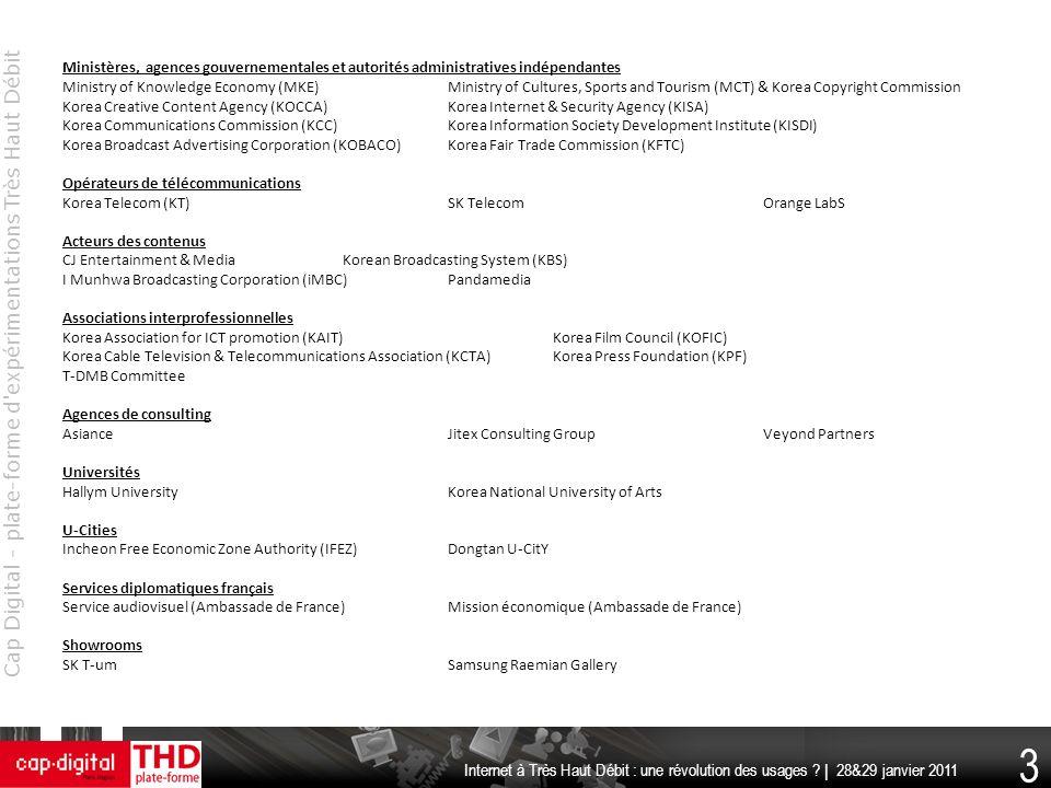 Cap Digital - plate-forme d'expérimentations Très Haut Débit 3 Internet à Très Haut Débit : une révolution des usages ? | 28&29 janvier 2011 Ministère