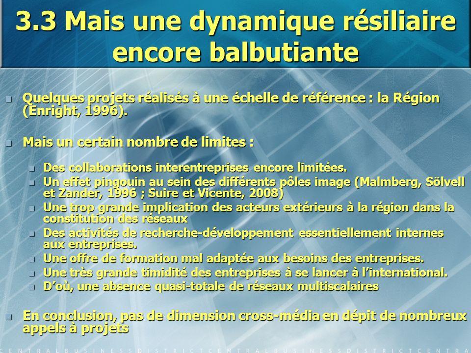 3.3 Mais une dynamique résiliaire encore balbutiante Quelques projets réalisés à une échelle de référence : la Région (Enright, 1996). Quelques projet