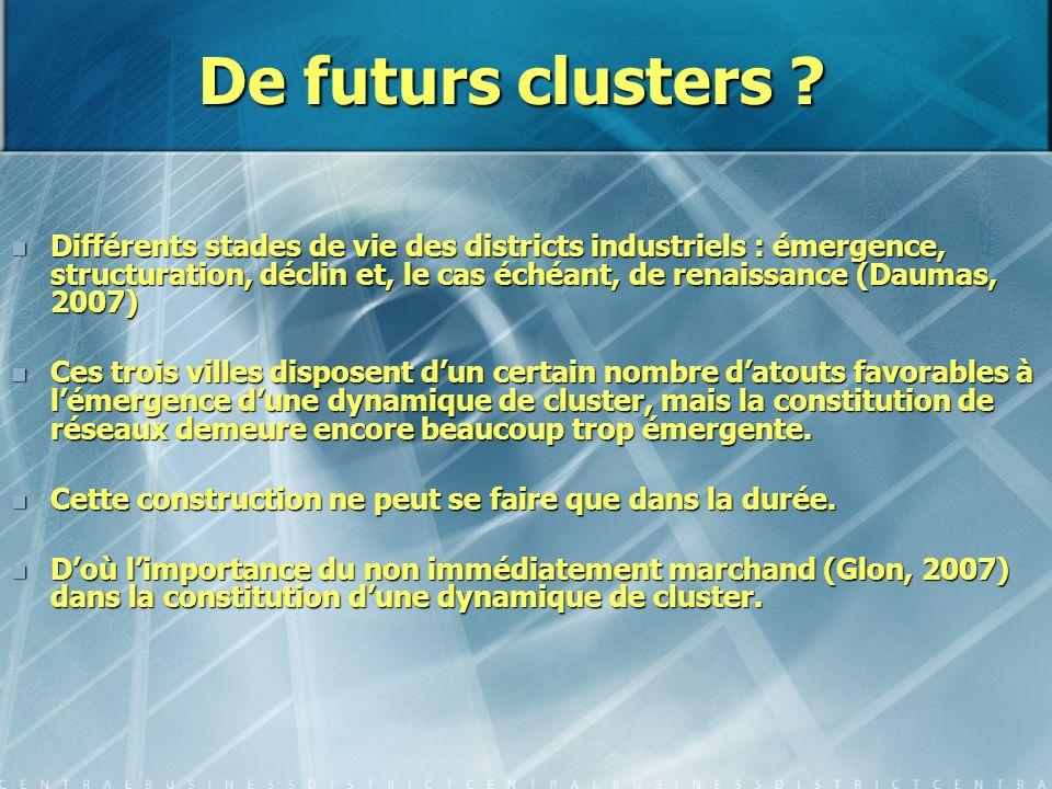 De futurs clusters ? Différents stades de vie des districts industriels : émergence, structuration, déclin et, le cas échéant, de renaissance (Daumas,