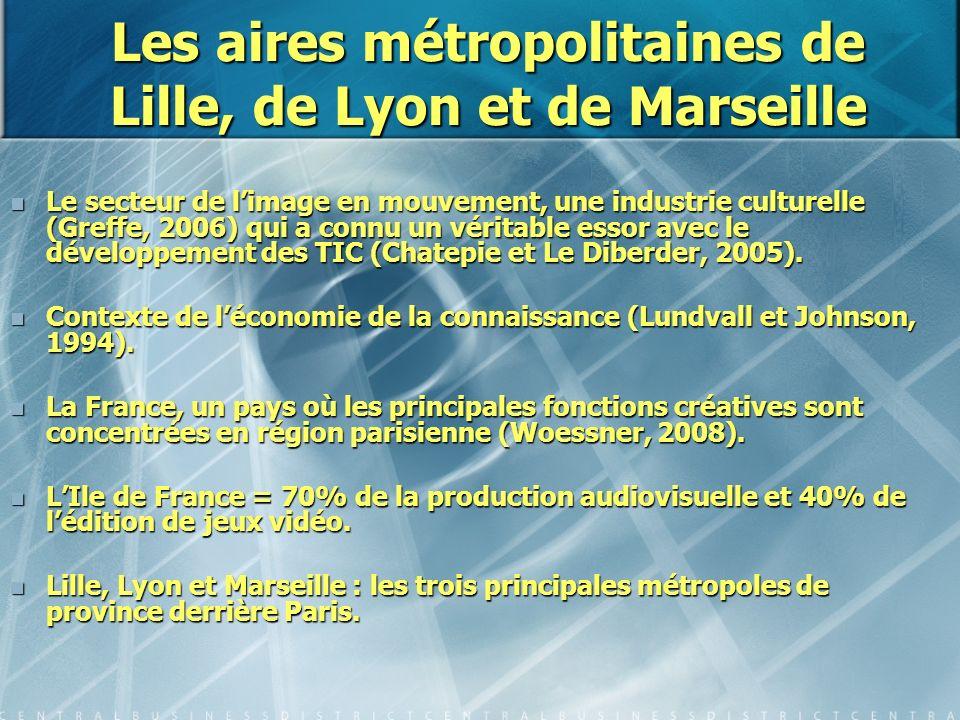 Les aires métropolitaines de Lille, de Lyon et de Marseille Le secteur de limage en mouvement, une industrie culturelle (Greffe, 2006) qui a connu un