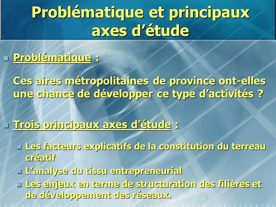 Problématique et principaux axes détude Problématique : Problématique : Ces aires métropolitaines de province ont-elles une chance de développer ce ty