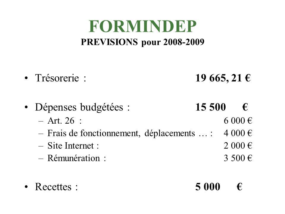 FORMINDEP Exercice 2007-2008 Résultat (exceptionnel) année 2007-2008 : 7 270,16