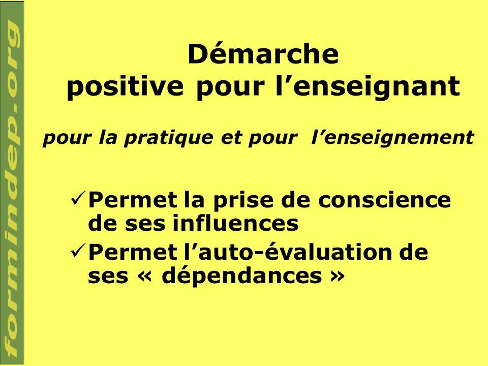 Démarche positive pour lenseignant Permet la prise de conscience de ses influences Permet lauto-évaluation de ses « dépendances » pour la pratique et