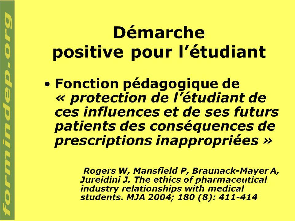 Démarche positive pour létudiant Fonction pédagogique de « protection de létudiant de ces influences et de ses futurs patients des conséquences de pre